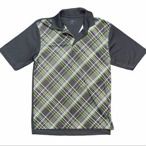 Fall Creek Green & Grey 2 Button Golf Polo-SZ S